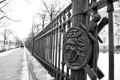 Fence of the Mikhailovsky Castle ( Engineers Castle ). Stock Photography