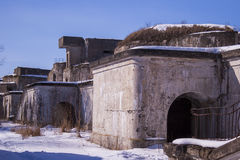 Fence of a military fort in winter Stock Photography