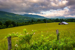 Fence and morning view of mountains in the rural Potomac Highlan Stock Photos