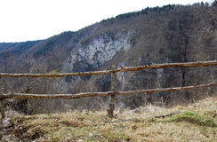 Fence on mount. Fence on hiking mountain track Royalty Free Stock Photo