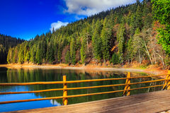 Fence on mountain Lake near  forest Royalty Free Stock Photos