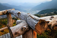 The fence and mountain. The photo was taken in Anhui in southern Anhui Province Chinese made of logs, railings, distant hills and mountain village, a mountain Royalty Free Stock Photography