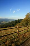Fence in the mountains. Fence, autumn trees in the background Stock Images