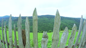 Fence in mountains stock video footage