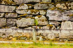 Fence and narrow path along wet stone wall Royalty Free Stock Image