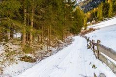 fence near dirt path through snow Royalty Free Stock Photography