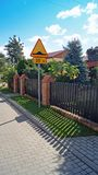Fence near houses. Stock Photo