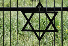 Fence in old jewish cemetery in Ozarow. Poland Stock Photo