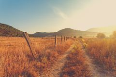 Free Fence On The Field A Farm Royalty Free Stock Photography - 110221297