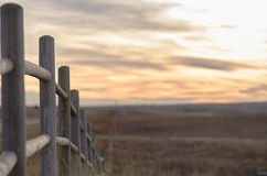 Fence With Open Area Complimented By Sunset - Has Copy Space Stock Image