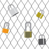 Fence with padlocks. Fence with various padlocks attached Stock Images