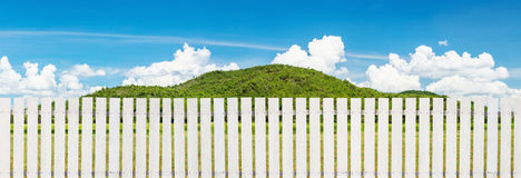 Fence and panorama mountain view Royalty Free Stock Photos