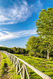 Fence in the park. A path runs along the fence of a park on the mountain Pratomagno in Tuscany (Italy Stock Photo