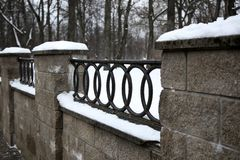 The Fence in the park at winter time Royalty Free Stock Photography