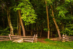 Fence at Pass Mountain Overlook, in Shenandoah National Park, Vi Royalty Free Stock Photos