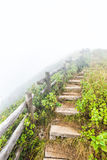 Fence and pathway on mountain. Old wood fence and pathway on mountain with fog Stock Images