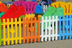 Fence a playground on the beach tourist village Stock Images