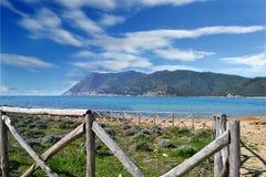 Fence in Porto Ferro. Detail of a wooden fence in Porto Ferro, Sardinia Stock Photo