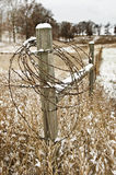 Fence Post with Barbed Wire Royalty Free Stock Photography