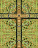 Fence post cross. Kaleidoscope cross from photo of Nebraska fence post Stock Image