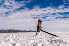 Fence Post in the snow. Stock Photo