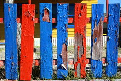 Fence Posts with Peeling Paint Stock Photos