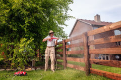 Fence power washing Stock Photos
