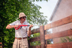 Fence power washing Stock Image