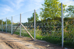 The fence protecting the border between Hungary and Serbia Royalty Free Stock Photography