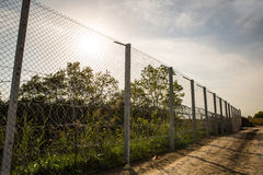 The fence protecting the border between Hungary and Serbia Stock Images