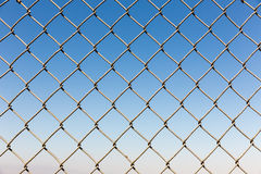 Fence rabitz closeup on blue sky background Royalty Free Stock Photos