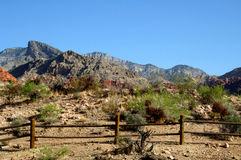 Fence Red rock canyon Nevada Royalty Free Stock Image