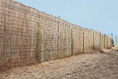 Fence of reed in the beach Royalty Free Stock Photo