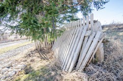Fence repairs. Parts of an old fence are ready to be repaired Stock Photography