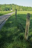 Fence, Road, Cabin, Spring. Landscape, Cades Cove, Great Smoky Mtns NP, TN stock image