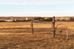 Fence, Ropes, Wagon Wheel Royalty Free Stock Photo