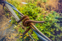 Fence with rusty barb wire Royalty Free Stock Photos