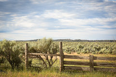 Fence in Sagebrush. Old corral wire and board fence in remote sagebrush landscape Stock Photo
