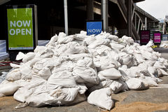 Fence of sand bags on the streets of Bangkok Royalty Free Stock Images