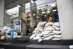 Fence of sand bags on the streets of Bangkok Royalty Free Stock Image