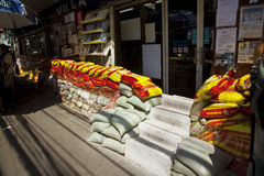 Fence of sand bags on the streets of Bangkok Stock Photo