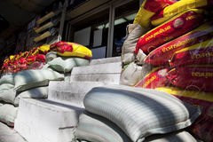 Fence of sand bags on the streets of Bangkok Stock Images
