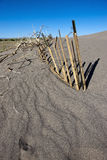 Fence in sand. Royalty Free Stock Photography