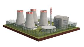 Fence security object nuclear power plant with power of detention. 3d illustration Stock Images