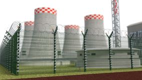 Fence security object nuclear power plant with power of detention. 3d illustration Stock Photo