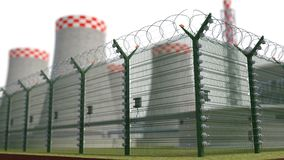 Fence security object nuclear power plant with power of detention. 3d illustration Royalty Free Stock Image