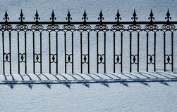 Fence silhouette. After the heavy snow, wrought iron fence silhouette Royalty Free Stock Photos