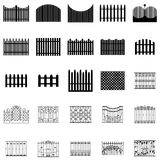 Fence silhouettes set Royalty Free Stock Photos