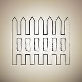 Fence simple sign. Vector. Brush drawed black icon at light brow