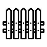 Fence simple vector icon. Black and white illustration of house fence. Outline linear icon.